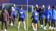 Vidal probeert Sétien in zijn hemd te zetten op training, maar nieuwe trainer Barça ontsnapt