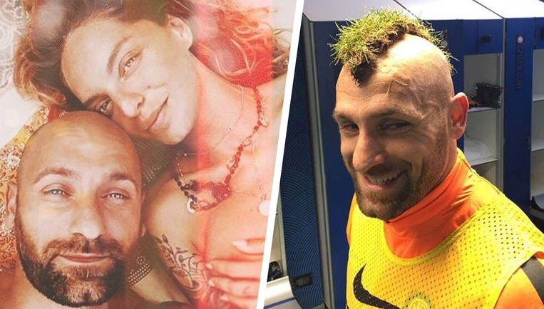 Links met vrouw Luna, rechts één van de beelden uit de vestiaire van Inter.