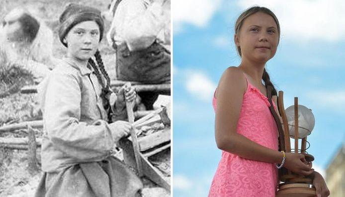Links: de 'dubbelgangster', rechts: de echte Greta Thunberg.