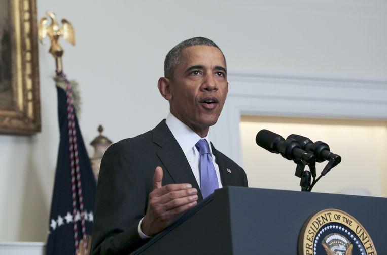 President Barack Obama kondigt nieuwe sancties aan tegen Iran, vanwege het testen van ballistische raketten. Beeld getty