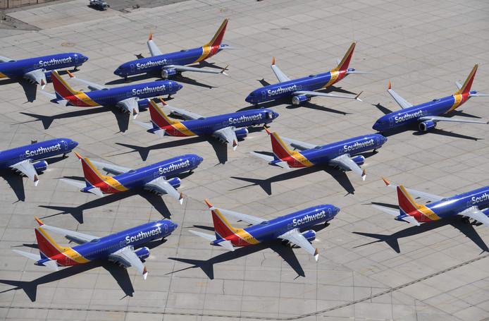 De toestellen van Southwest Airlines blijven op de het vliegveld van Victorville, in Californië, voorlopig nog aan de grond.
