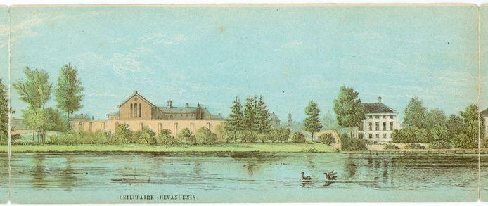 Gezicht op de gevangenis aan het Wolvenplein op het vroegere bolwerk Wolvenburg. Deze tekening uit 1859 is onderdeel van het Panorama van Utrecht.
