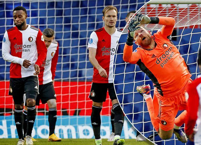 Feyenoord treurt na de goal van FC Utrecht. Inzet: Doelman Nick Marsman.
