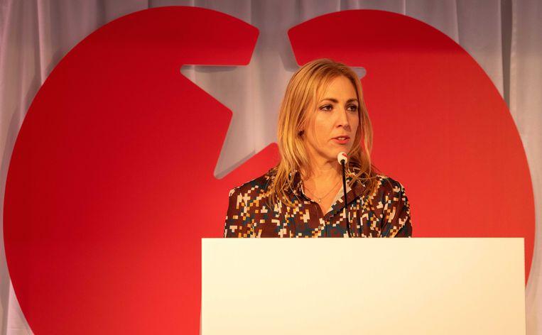 SP-leider Lilian Marijnissen tijdens de partijraad van eind februari waar onder meer de migratieparagraaf in het Europese verkiezingsprogramma werd besproken. Beeld ANP