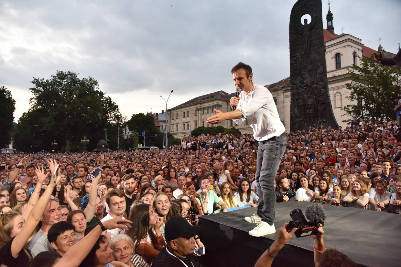 Svjatoslav Vakartsjoek is zowel partijleider van Golos als zanger van de rockband Okean Elzy.