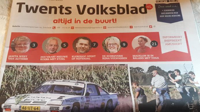 De advertentie van de gemeente Hellendoorn verschijnt voorlopig nog in het Twents Volksblad.