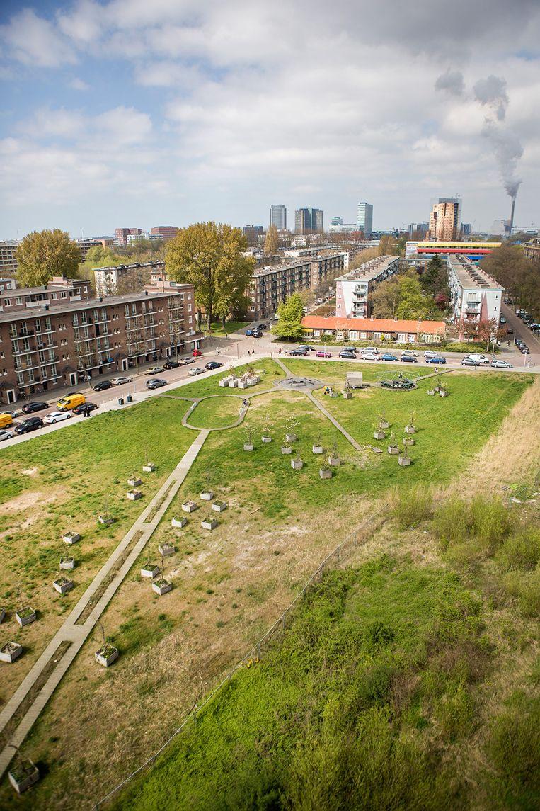 De Jan van Schaffelaarplantsoen in Amsterdam West, waar binnenkort een nieuw pand wordt gebouwd dat door een buitenlandse investeerder wordt gefinancieerd. Beeld Julius Schrank