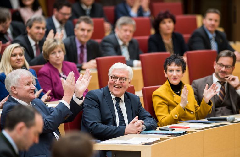 Steinmeier ontving afgelopen week appplaus tijdens zijn bezoek aan het parlement van Beieren. Beeld EPA