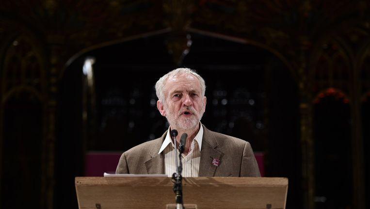 Jeremy Corbyn, leider van de Britse Labourpartij tijdens een toespraak Beeld afp