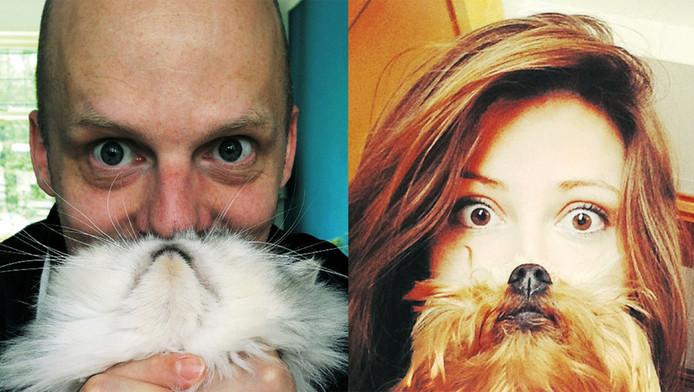 Met de neus en bek van een kat (l) of een hond (r) wordt de illusie van een katten- of hondenbaard gewekt.