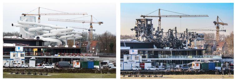 Voor en na: de brand heeft lelijk huis gehouden in Kortrijk.