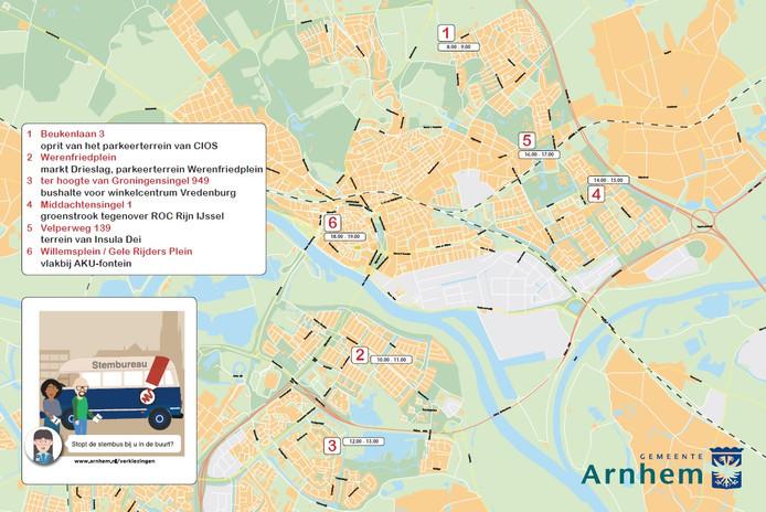 Kaartje met locaties en tijdstippen voor het mobiele stembureau dat woensdag 21 maart ter gelegenheid van de gemeenteraadsverkiezingen door Arnhem rijdt.