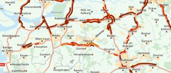 De files in Brabant volgens de ANWB.