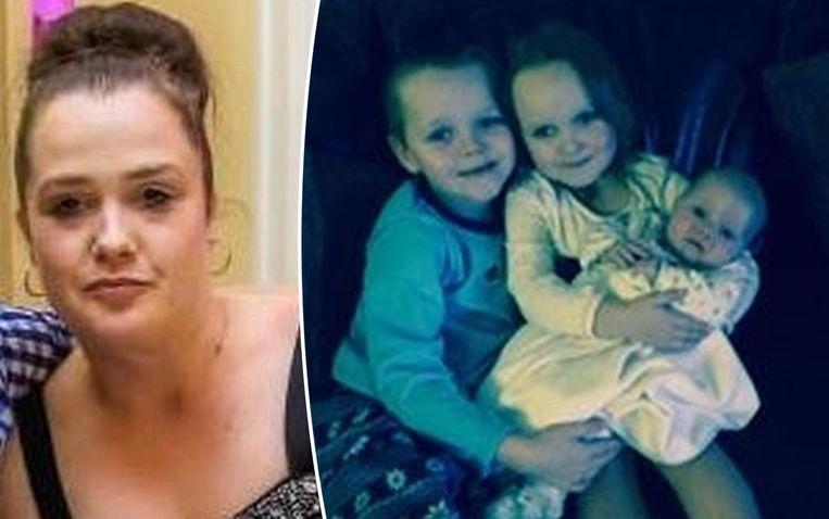 Michelle Pearson (links) en drie van de vier kinderen die ze verloor in een brand.