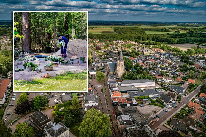 Luchtfoto van Heerde met inzet van Gerrie Rozendal op de begraafplaats bij Heerde.