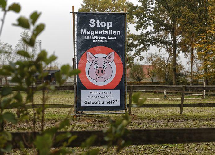 Een eerder protest in Berlicum tegen de komst van megastallen.