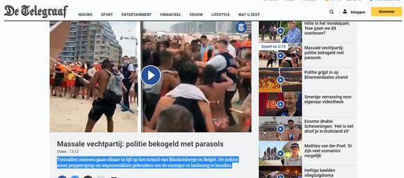Ook De Telegraaf zag het strandgevecht als een volwaardig nieuwsitem.