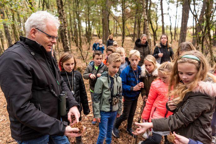 Jos van der Wijst, van Natuurcentrum Maashorst, vertelt over een door spechten leeg gegeten dennenappel.