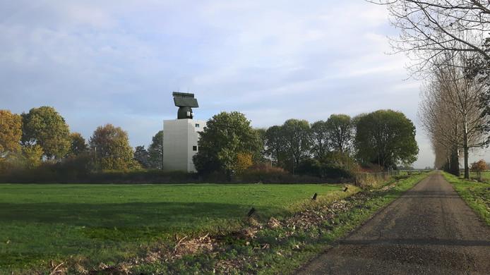 Een artist impression van de Broekgraaf in Herwijnen, als de radar er eenmaal zou staan.