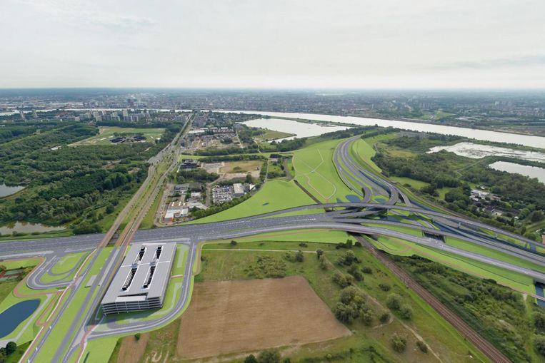 Een simulatie van het nieuwe knooppunt Antwerpen-West (rechts) en het parkeergebouw voor 1.500 voertuigen (links) ter hoogte van de Blancefloerlaan op de grens met Zwijndrecht.