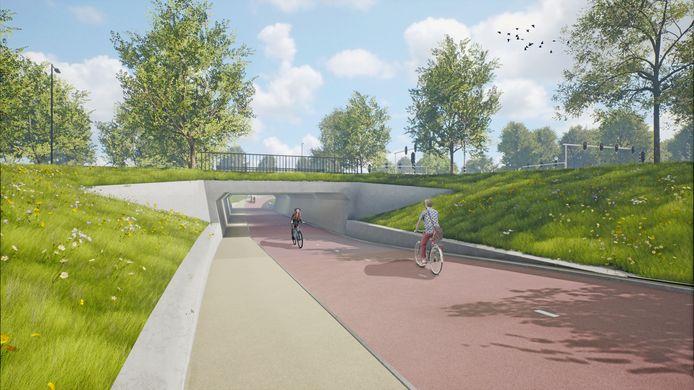Impressie van de toekomstige fietstunnel onder de Ringbaan Zuid, gezien vanaf de Stappegoorweg richting Trouwlaan.