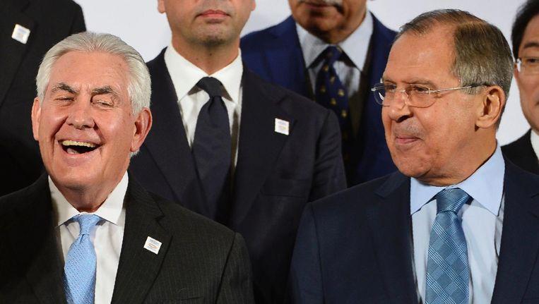 Rex Tillerson en Sergej Lavrov tijdens de G20 in Bonn, feb 2017. Beeld afp