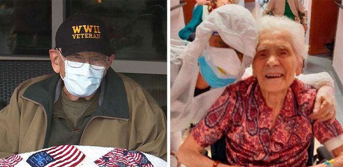 De Amerikaan Bill Lapschies en de Italiaanse Ada Zanusso, beiden geboren in 1916, zijn afgelopen week genezen van het coronavirus.