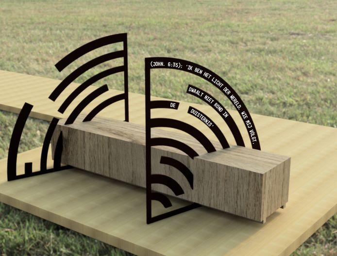 Het ontwerp voor het object 'Verbinden', dat bij het Plankenpad in Boxtel moet komen te staan.