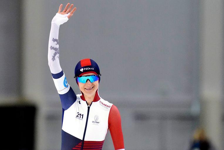 Martina Sablíkova na de rit op de 5000 meter op het WK afstanden schaatsen. Beeld ANP