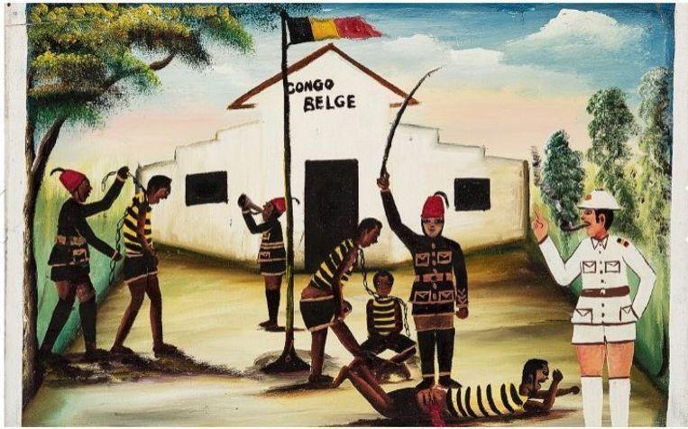Het schilderij 'Congo Belge II' werd in de jaren 70 van de vorige eeuw gemaakt en is een historisch tafereel uit de koloniale periode van de huidige Volksrepubliek Congo.