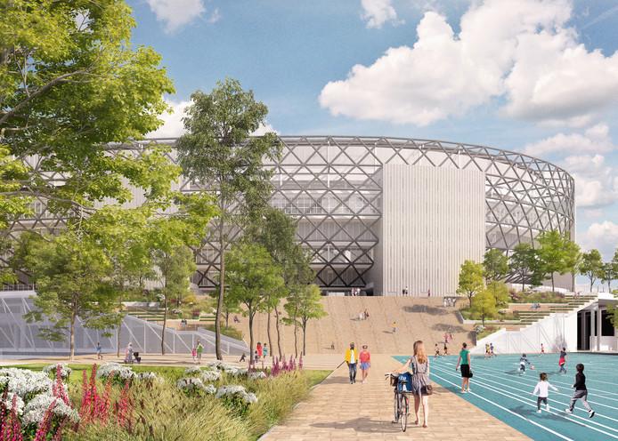 Het stadion gezien vanuit het Mallegatpark.