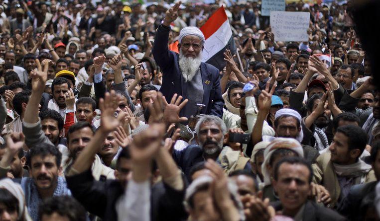 Protest in de hoofdstad Sanaa Beeld ap