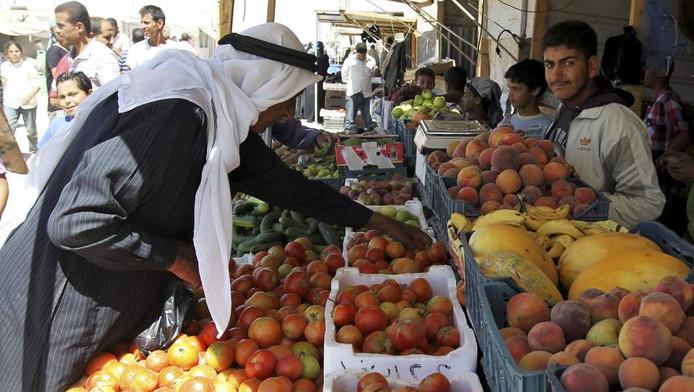 Markt in het kamp in Al Zataari