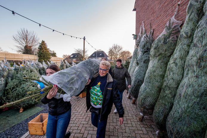Kerstboomverkoop aan de Dahliastraat in Tiel