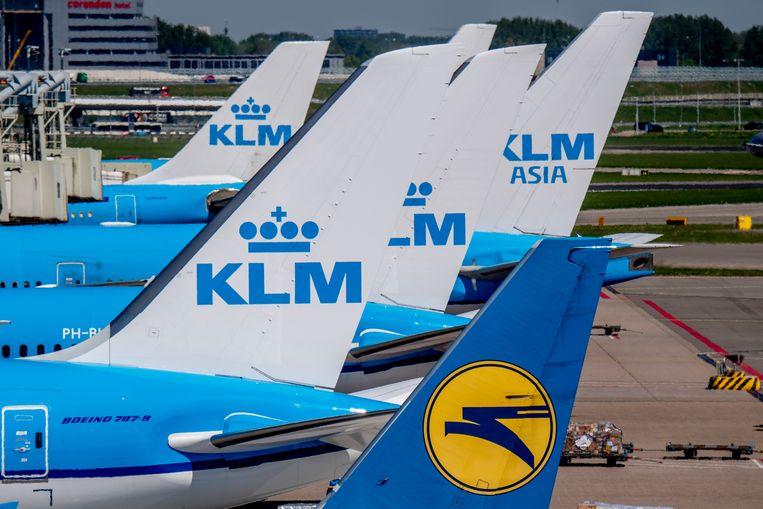Vliegtuigen van de KLM op luchthaven Schiphol. Beeld ANP
