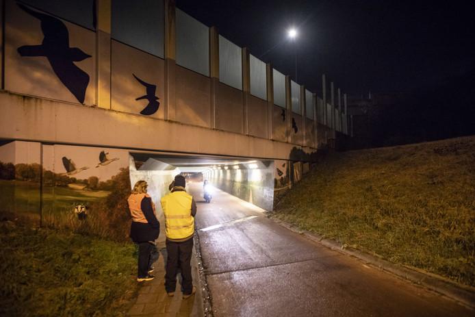 Mensen uit de Helmerhoek patrouilleren bij het tunneltje aan de Oude Dijk omdat daar vier jongens zijn overvallen door criminelen, en met een vuurwapen bedreigd.