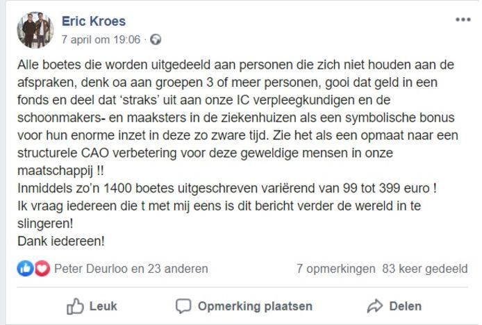 De oproep van Nijmegenaar Eric Kroes om de opbrengsten van coronaboetes beschikbaar te stellen voor de zorg wordt massaal gedeeld op Facebook.
