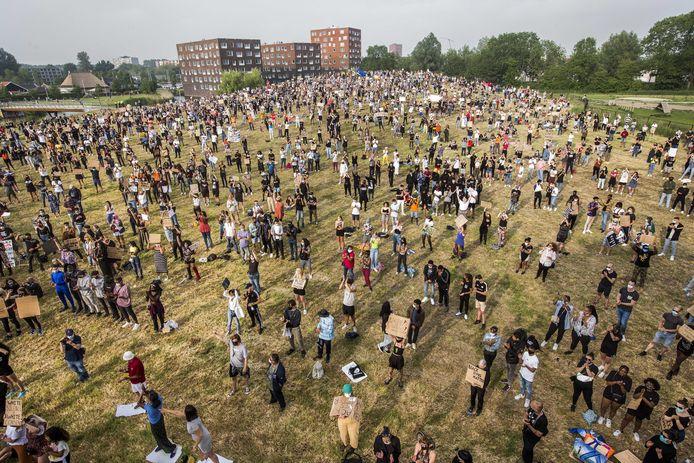 Het protest in Leeuwarden zaterdagavond.