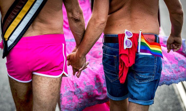 Tijdens de Pride Walk dragen de wandelaars hun trots uit en wordt stilgestaan bij LHBT's wereldwijd. Beeld anp