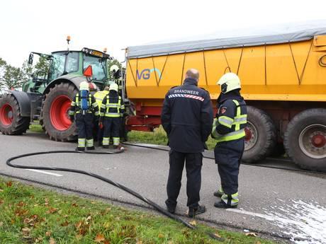 Tractor vat vlam in Oirschot, niemand raakt gewond