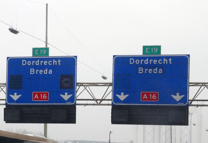 A16 ter hoogte van Drechttunnel A16 Rotterdam naar Breda.