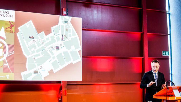 Rene Paas, Commissaris van de Koning van Groningen, geeft een toelichting op de route en het programma van Koningsdag 2018. Dit jaar vieren koning Willem-Alexander en koningin Maxima Koningsdag in de stad Groningen. Beeld anp