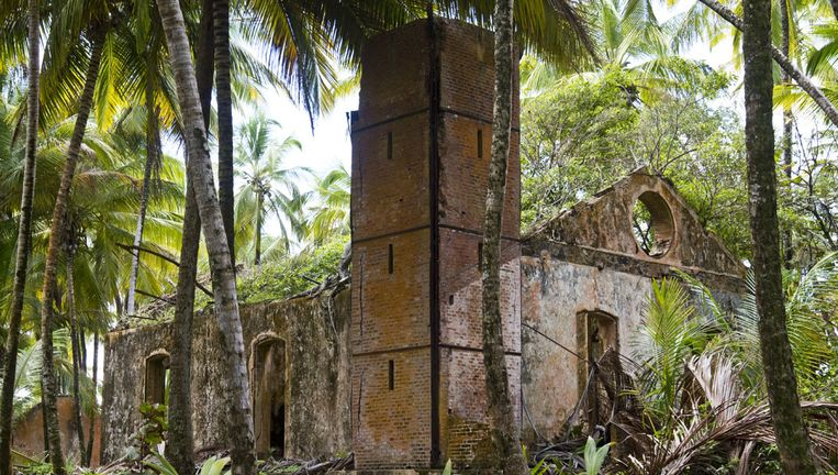 Overblijfselen van de inrichting op Duivelseiland, vaak omschreven als een van de gruwelijkste gevangenissen uit de wereldgeschiedenis. Beeld afp