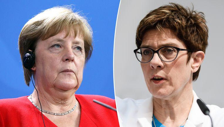 Angela Merkel (links) en haar opvolgster Annegret Kramp-Karrenbauer.