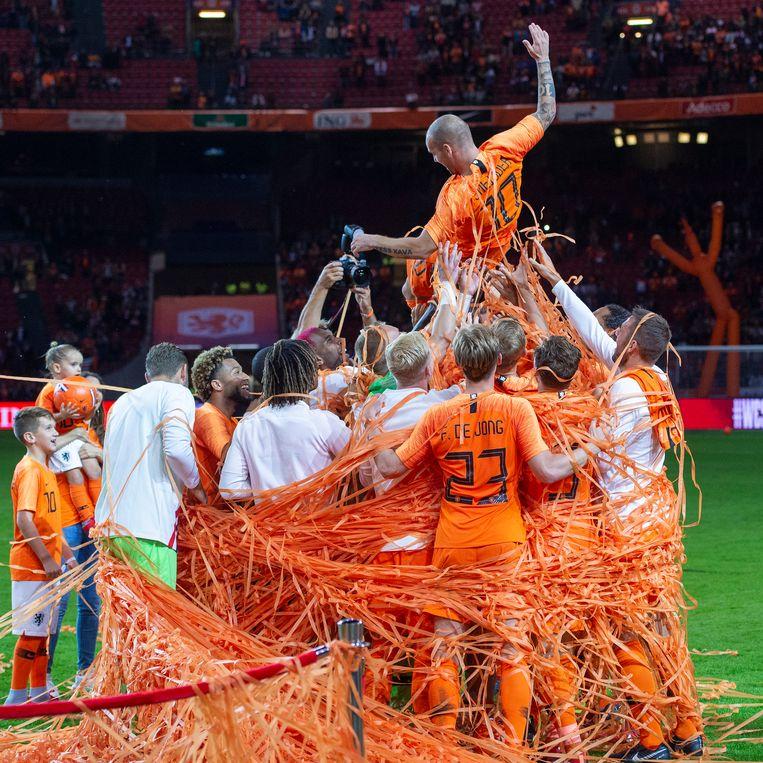 Wesley Sneijder tijdens het oefenduel Nederland - Peru, zijn afscheidswedstrijd als international. 6 september 2018. Beeld OrangePictures