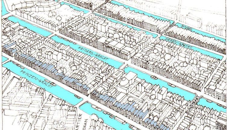 Een van de schetsen van de Franse architect en stedenbouwkundige Marcel Bajard die te zien zijn op de expositie. Beeld Marcel Bajard