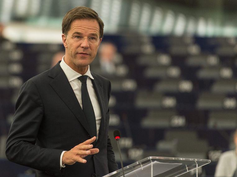 Premier Mark Rutte tijdens zijn toespraak in het Europees Parlement. Beeld epa