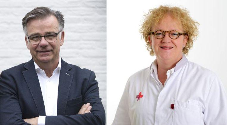 Verpleegkundige Marcellino Bogers en gynaecoloog Mieke Kerkhof. Beeld Frank Muller (Marcellino Bogers) en Ruud van Genugten (Mieke Kerkhof)