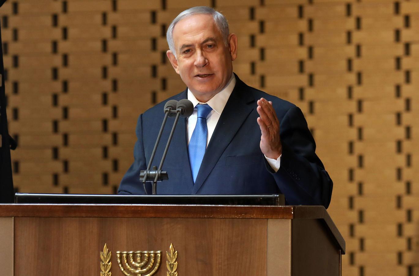 De Israëlische premier Benjamin Netanyahu tijdens een speech op 10 oktober van dit jaar.