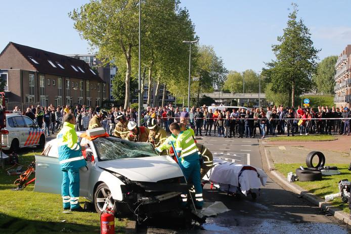 De crash aan de Stadspolderring in Dordrecht.
